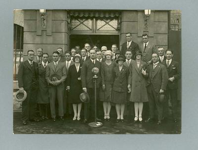 Photograph of 1928 Australian Olympic Team, outside Radio Station 3LO