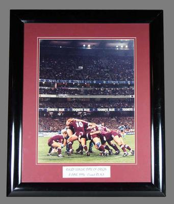 Framed photograph - Rugby League State of Origin, NSW v  Qld, at the MCG on 8 June 1994