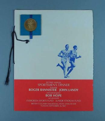 Commemorative medal issued for Second Annual Sportsmen's Dinner, Vancouver, 1967; Civic mementoes; 1986.955.1