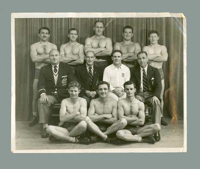 Photograph depicting a team of athletes and officials, c1950s