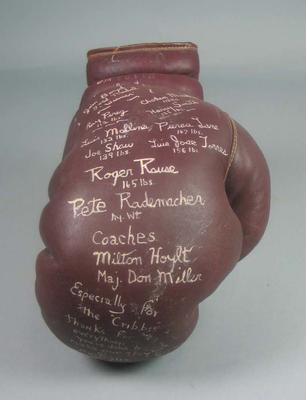 Brown leather training glove, used by Jim Boyd at 1956 Olympic Games
