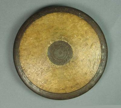 Discus used in practice by Australian athlete Ian Reed, 1952 Olympic Games