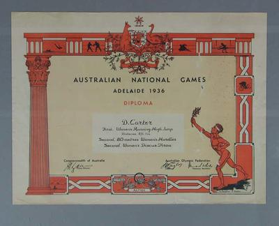 Certificate awarded to Doris Carter, 1936 Australian National Games; Documents and books; 1986.1002