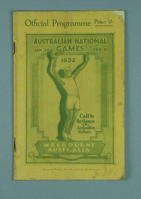 Official programme for 1932 Australian National Games Carnival