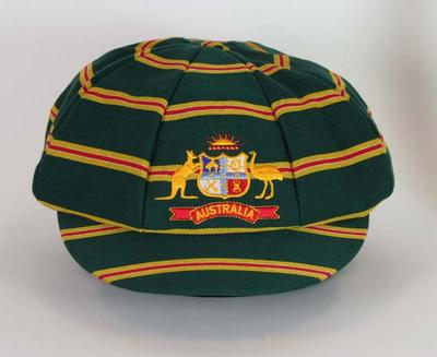 Striped cap with Australia logo, commemorates first Australia v Bangladesh Test match - 2003