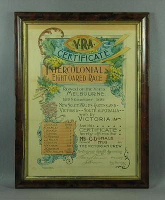 Certificate, Intercolonial Eight Oared Race 1899