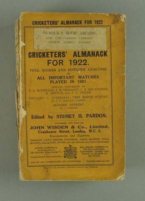 Wisden Cricketers' Almanack, 1922