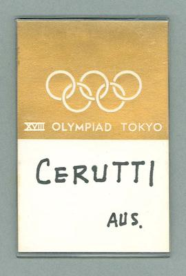 Name tag worn by Percy Cerutty, 1964 Olympic Games