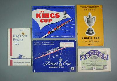 Programmes for King's Cup Regattas in 1938, 1962, 1963, 1965 and 1975