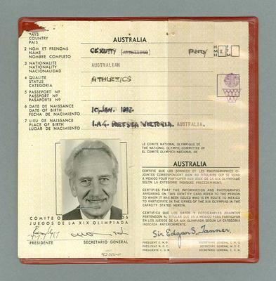 Identification card issued to Percy Cerutty, 1968 Olympic Games