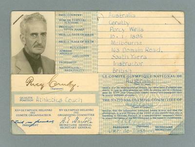 Identification card issued to Percy Cerutty, 1952 Olympic Games