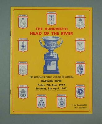 "Programme - ""The Hundredth Head of the River"",  Barwon, April 1967"