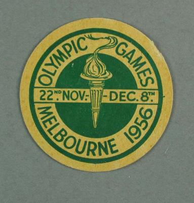 Card disk/label - 1956 Melbourne Olympic Games - off an ice cream container lid