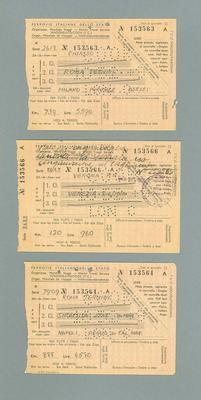 Three Italian train tickets, used by Percy Cerutty