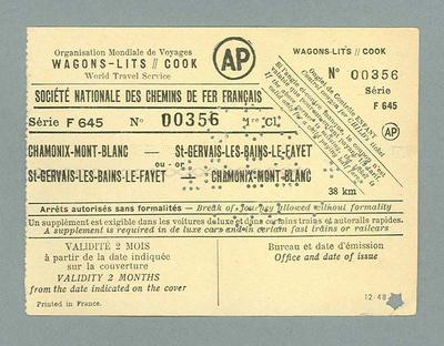 French train ticket, used by Percy Cerutty