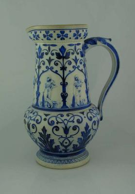 Ceramic jug with blue and white cricketers design