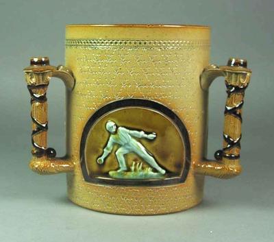 Royal Lambeth stoneware jug with cricketer design, 1884; Domestic items; M5353