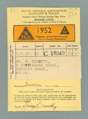 Youth Hostel Association Senior Card, issued to Percy Cerutty in 1952