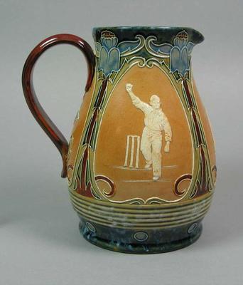 Doulton Lambeth jug, three cricketers design