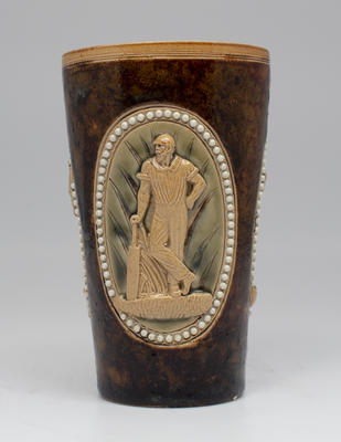 Stoneware beaker, images of cricketers - possibly W.G. Grace
