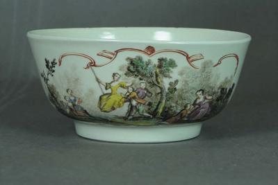 Sugar bowl, image of eighteenth century outdoor scene