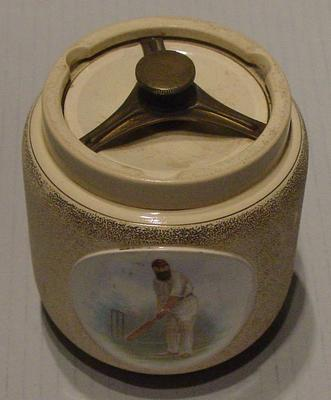 Tobacco jar with printed  image of W G Grace