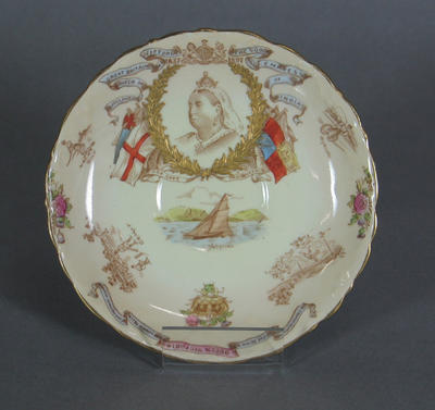 Aynsleyware ceramic saucer with Queen Victoria & sporting scenes design; Domestic items; Domestic items; M5398.1