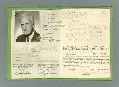 Identification card issued to Percy Cerutty, 1960 Olympic Games