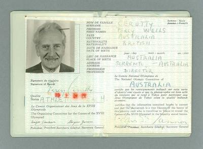 Identification card issued to Percy Cerutty, 1964 Olympic Games