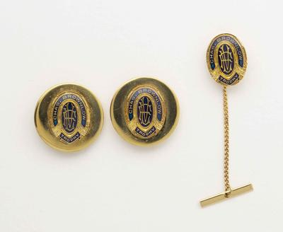 Pair of cuff links and tie tack, Chas Brownlow Trophy design