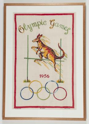 Embroidered tea towel, 1956 Olympic Games