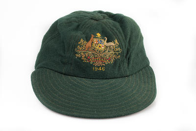 Australian baseball team cap, issued to Reg Darling; Clothing or accessories; N2009.87