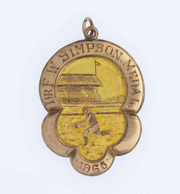 Simpson Medal awarded to WA State Team captain Kevin Murray, 1965.