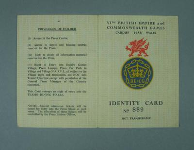 Identification card issued to Percy Cerutty, 1958 British Empire Games; Documents and books; 1992.2630.56