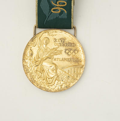 Gold medal awarded to Susan O'Neill for winning the 200m butterfly, 1996 Olympic Games, Atlanta