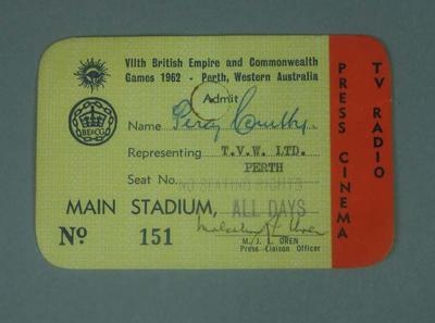 Identification card issued to Percy Cerutty, 1962 British Empire Games