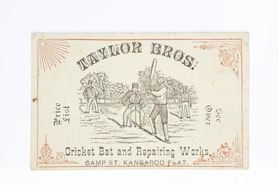 Business card, Taylor Brothers Cricket Bat and Repairing Works