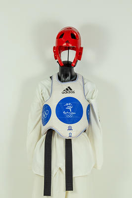 Tae Kwon Do chest guard worn by Lauren Burns, Sydney Olympic Games, 2000