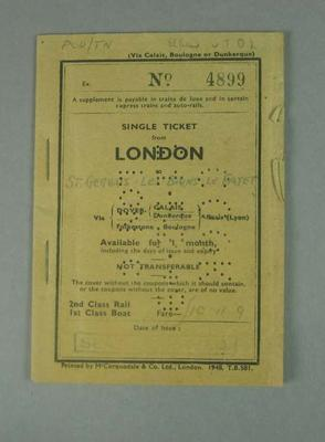 London-Paris ticket booklet, used by Percy Cerutty c1948
