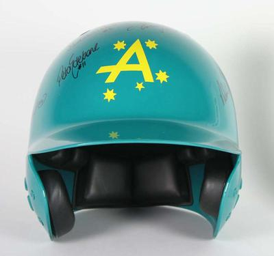 Australian Woman's Softball helmet with team signatures, 2004 Athens Olympic Games
