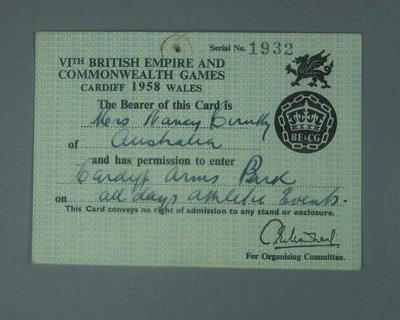 Identification card issued to Nancy Cerutty, 1958 British Empire Games
