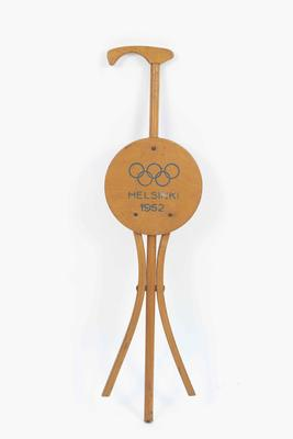 Folding chair-walking stick from the 1952 Helsinki Olympic Games, purchased and used by George Moir.