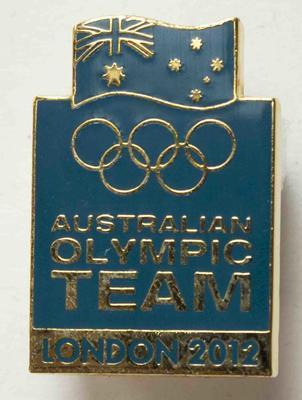 London 2012 Australian Olympic team badge, issued to head team physiotherapist Wendy Braybon; Civic mementoes; 2019.1.19