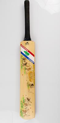 Souvenir bat autographed Australia & England 1982-83 teams, Tony Rafty cartoons