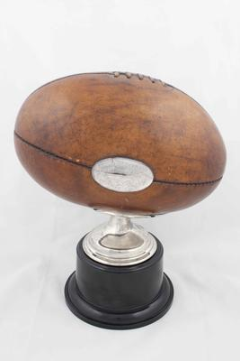 Football presented to Fred Fanning for kicking record 18 goals in a game - 30 Aug 1947; Trophies and awards; 2004.3974.2