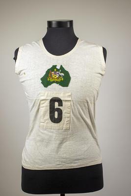 Singlet worn by Elsie Jones, IIIrd British Empire Games, 1938; Clothing or accessories; 2005.4213.1