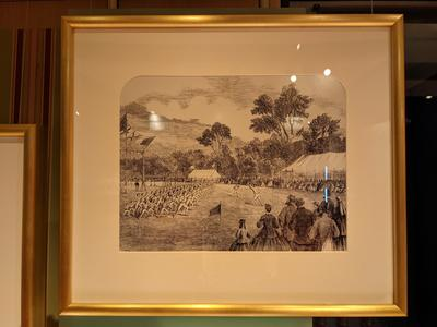 Framed and mounted reproduction of a lithograph, GYMNASTIC AND ATHLETIC SPORTS ON THE MELBOURNE CRICKET GROUND, by Samuel Calvert (1828-1913).