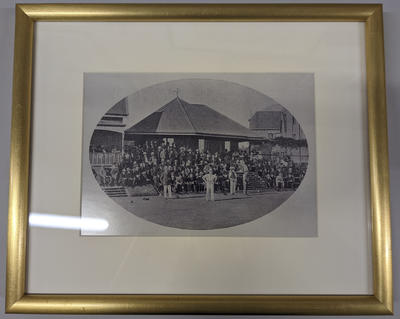Framed, mounted black and white reproduction photograph of the Championship of Australia lawn bowls tournament held at the MCG in 1907