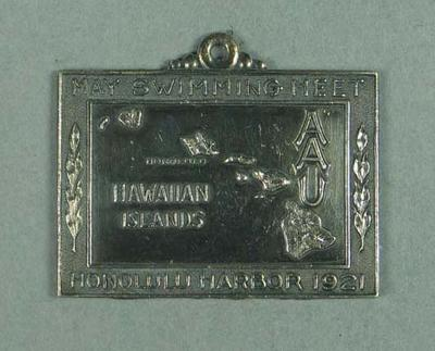 Silver medal presented to second place in Hawaiian Islands AAU 440 yards swim 28 May 1921, won by Frank Beaurepaire