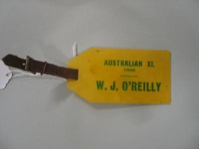 Luggage tag used by Australian cricketer Bill O'Reilly, 1938